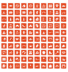 100 mother and child icons set grunge orange vector