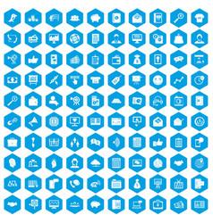 100 viral marketing icons set blue vector image