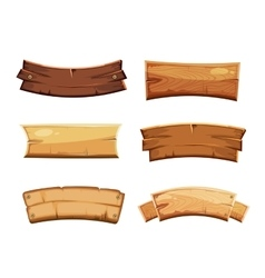 Cartoon wood blank banners and ribbons western vector image