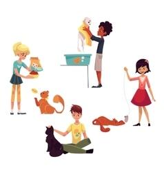 Happy kids feeding washing stroking a cat vector