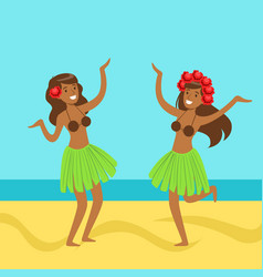 hawaiian girl in grass skirt with hibiscus in vector image