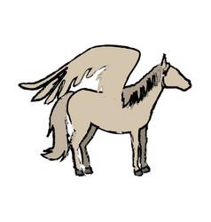 Horse pegasus funny cartoon animal character vector