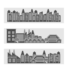Cityscape icons banner vector