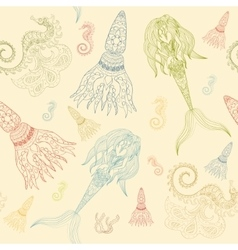 Hand drawn ornamental mermaid sea-horse and vector