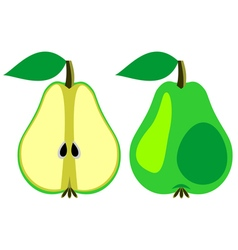 Pears whole and half vector