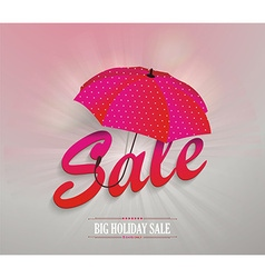 3d red text SALE with pink umbrella vector image