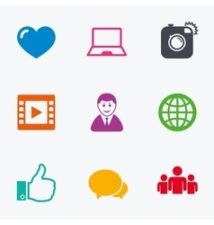 Social media icons video share and chat signs vector