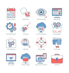 Modern seo thin line icons2 vector