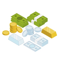 Isometric coins money gold bar vector