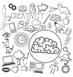 Doodle icon design creativity icon draw concept vector