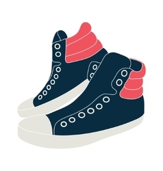Blue sneakers on white background vector