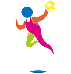 Sport icon for handball in color vector