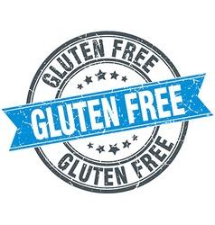 Gluten free blue round grunge vintage ribbon stamp vector