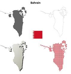 Bahrain outline map set vector image vector image