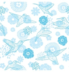 Blue hummingbirds and flowers lineart vector