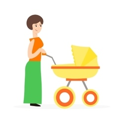 Cartoon cute mother with a stroller vector