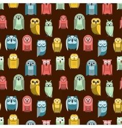 Cartoon owl seamless pattern vector