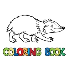 Coloring book of little funny badger vector