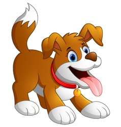 cute fun dog cartoon vector image