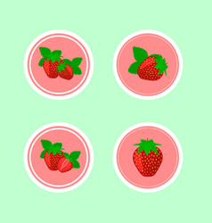 design stickers with juicy ripe strawberry vector image vector image