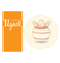 happy ugadi and gudi padwa hindu new year greeting vector image vector image