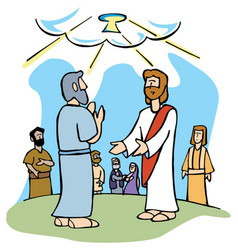 jesus gives peter keys to the kingdom of heaven vector image vector image
