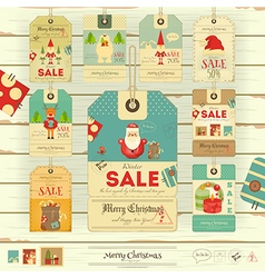 Merry christmas and new year sale tags vector