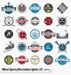 Mixed Sport and Recreation Labels vector image vector image