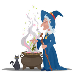 Old witch with a cat cooks a decoction in the vector