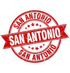 San antonio red round grunge vintage ribbon stamp vector