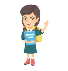 schoolgirl holding a book and waving her hand vector image