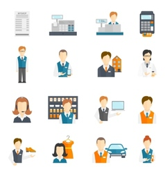Set icons salesman flat vector image vector image