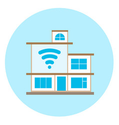 smart house icon on blue background modern home vector image vector image
