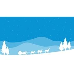 Train santa on the hill scenery christmas vector