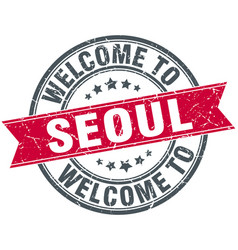 Welcome to seoul red round vintage stamp vector