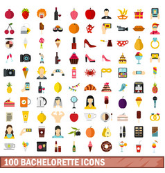 100 bachelorette icons set flat style vector image