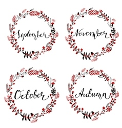 Set of autumn round frames vector