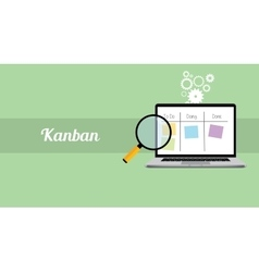 Kanban workflow project management with laptop and vector