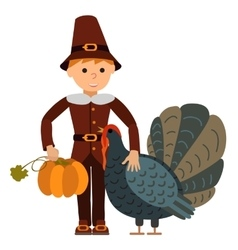 cute little boy big turkey and vector image