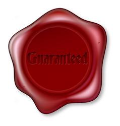Guaranteed red wax seal vector