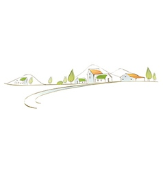 Rural houses landscape vector