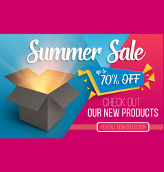 Summer sale banner open box with light vector