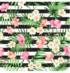 Tropical flower pattern vector