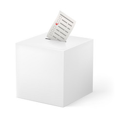 Ballot box with ballot paper on white background vector