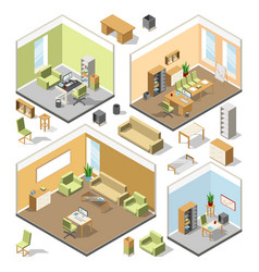 different isometric workspaces with sectional vector image