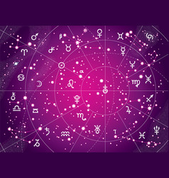 Xii constellations of zodiac antique purple vector