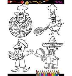 Cook chefs set cartoon coloring book vector