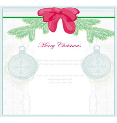 Christmas framework style with baubles card vector