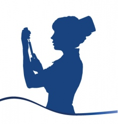 Assistant silhouette blue on white vector