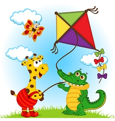 giraffe and crocodile launching kite vector image